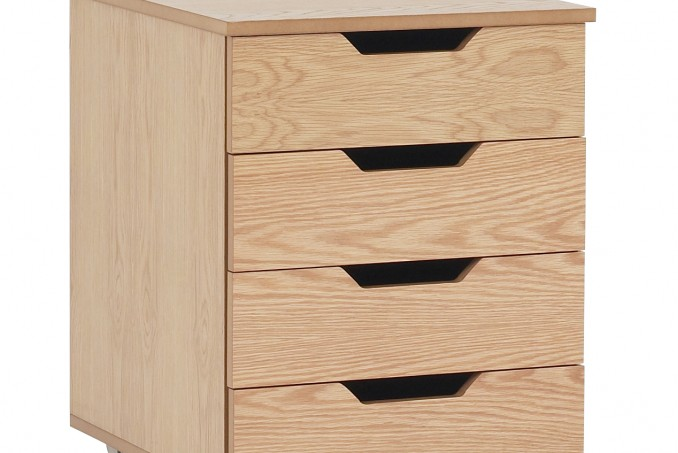 4 drawer mobile cabinet in Light Oak