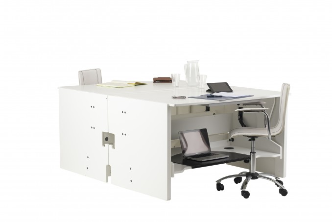 ConverTable Desks back-to-back both converted to tables to create a large surface area