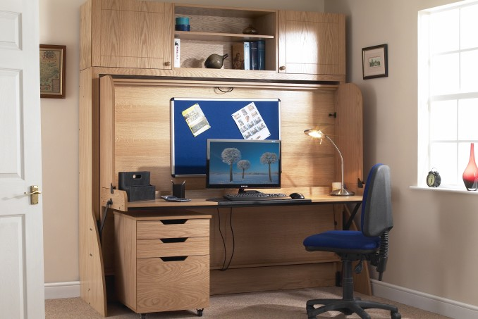 Large Double with Top Box and filing cabinet in Light Oak