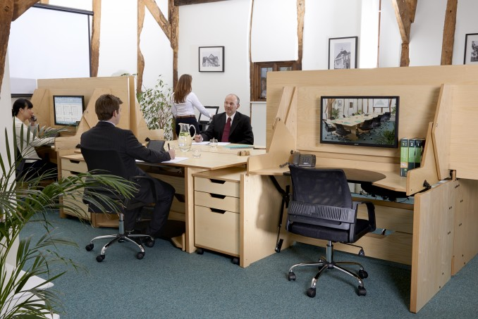 It takes just 3 seconds to transform individual desks into a large table for a meeting