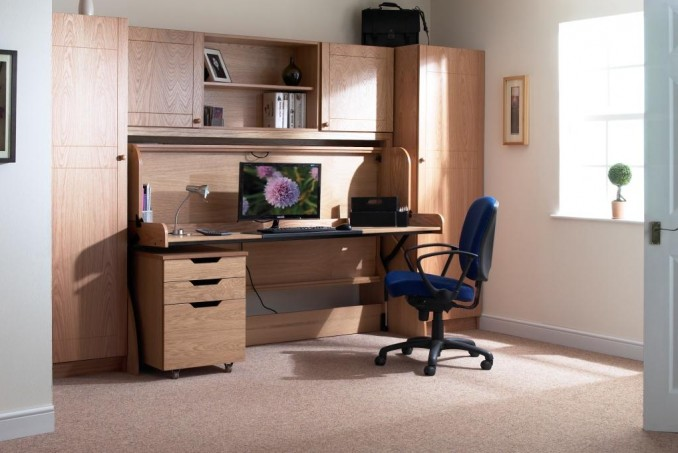 Single in Light Oak with matching Top Box, underdesk cabinet and wardrobes (£3,714)
