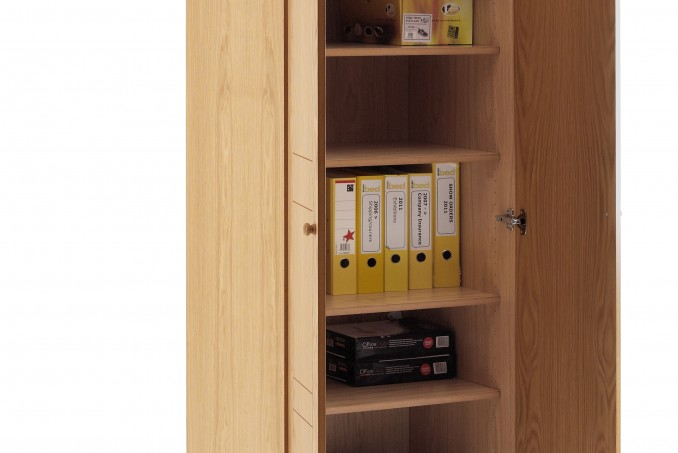 wardrobe in Light Oak fitted with adjustable shelving