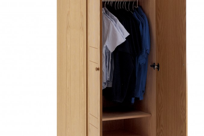 Wardrobe in Light Oak with hanging and shelving