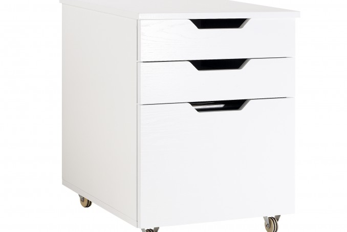 Filing cabinet in painted white oak